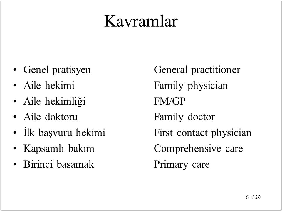 / 296 Kavramlar Genel pratisyenGeneral practitioner Aile hekimiFamily physician Aile hekimliğiFM/GP Aile doktoruFamily doctor İlk başvuru hekimiFirst contact physician Kapsamlı bakımComprehensive care Birinci basamakPrimary care