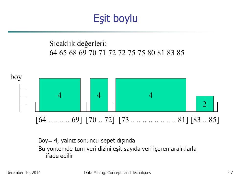 December 16, 2014Data Mining: Concepts and Techniques67 Eşit boylu Boy= 4, yalnız sonuncu sepet dışında Bu yöntemde tüm veri dizini eşit sayıda veri i