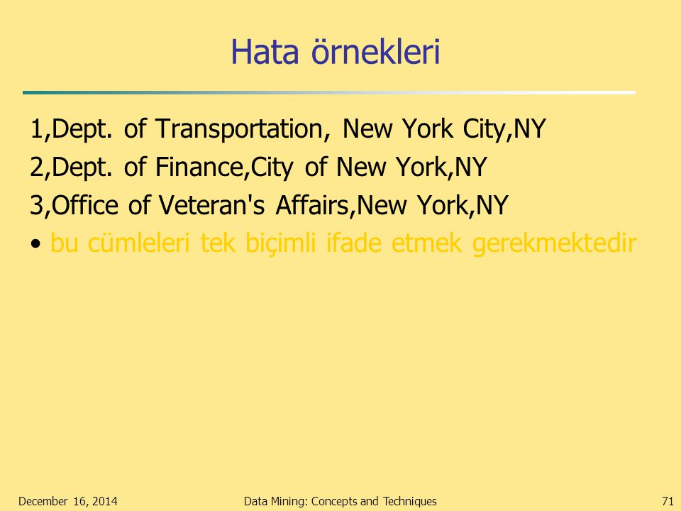 Hata örnekleri 1,Dept.of Transportation, New York City,NY 2,Dept.