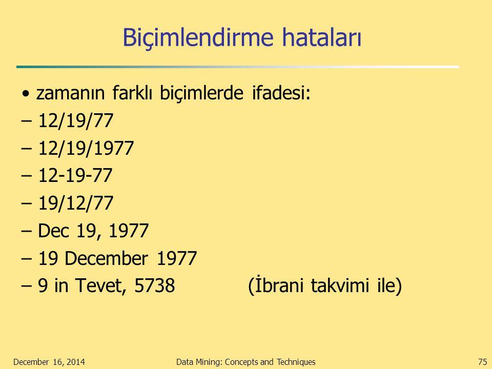 Biçimlendirme hataları zamanın farklı biçimlerde ifadesi: – 12/19/77 – 12/19/1977 – 12-19-77 – 19/12/77 – Dec 19, 1977 – 19 December 1977 – 9 in Tevet