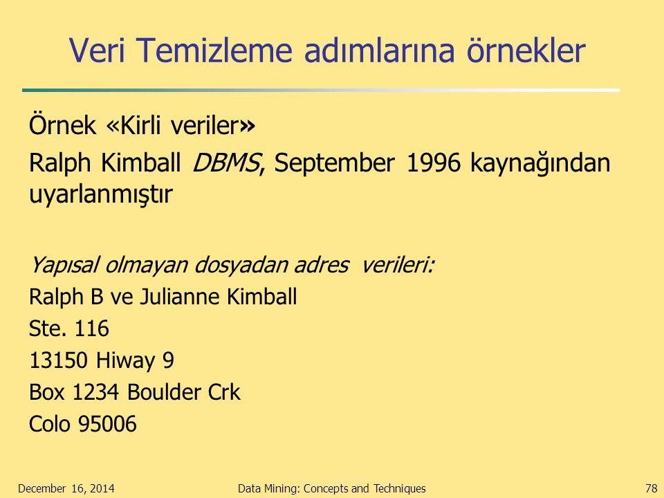 Veri Temizleme adımlarına örnekler Örnek «Kirli veriler» Ralph Kimball DBMS, September 1996 kaynağından uyarlanmıştır Yapısal olmayan dosyadan adres v