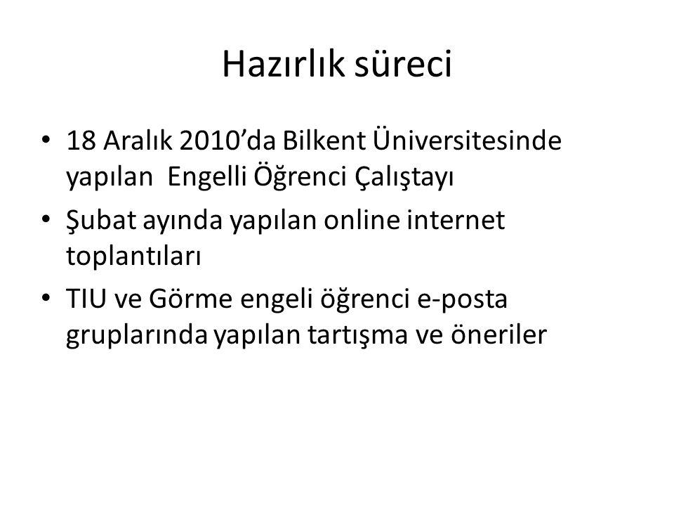 Hazırlık süreci 18 Aralık 2010'da Bilkent Üniversitesinde yapılan Engelli Öğrenci Çalıştayı Şubat ayında yapılan online internet toplantıları TIU ve G