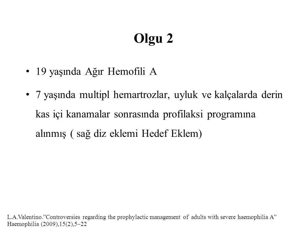 Olgu 2 19 yaşında Ağır Hemofili A 7 yaşında multipl hemartrozlar, uyluk ve kalçalarda derin kas içi kanamalar sonrasında profilaksi programına alınmış ( sağ diz eklemi Hedef Eklem) L.A.Valentino. Controversies regarding the prophylactic management of adults with severe haemophilia A Haemophilia (2009),15(2),5–22