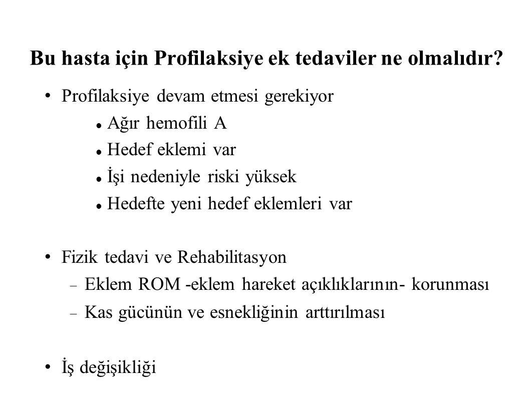 Bu hasta için Profilaksiye ek tedaviler ne olmalıdır.