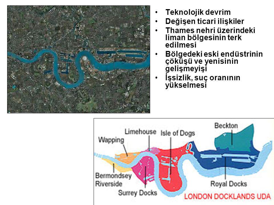 Teknolojik devrim Değişen ticari ilişkiler Thames nehri üzerindeki liman bölgesinin terk edilmesi Bölgedeki eski endüstrinin çöküşü ve yenisinin gelişmeyişi İşsizlik, suç oranının yükselmesi