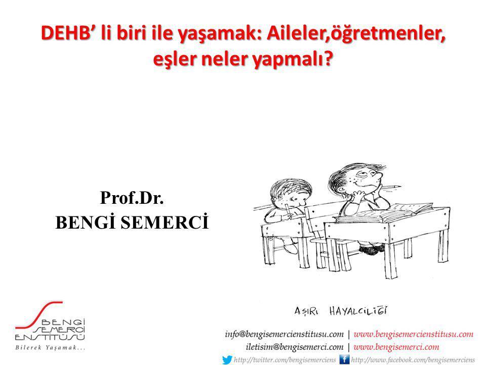 DEHB' li biri ile yaşamak: Aileler,öğretmenler, eşler neler yapmalı? Prof.Dr. BENGİ SEMERCİ