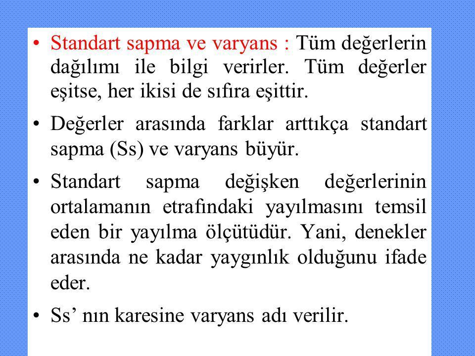 Standart sapma ve varyans : Tüm değerlerin dağılımı ile bilgi verirler. Tüm değerler eşitse, her ikisi de sıfıra eşittir. Değerler arasında farklar ar