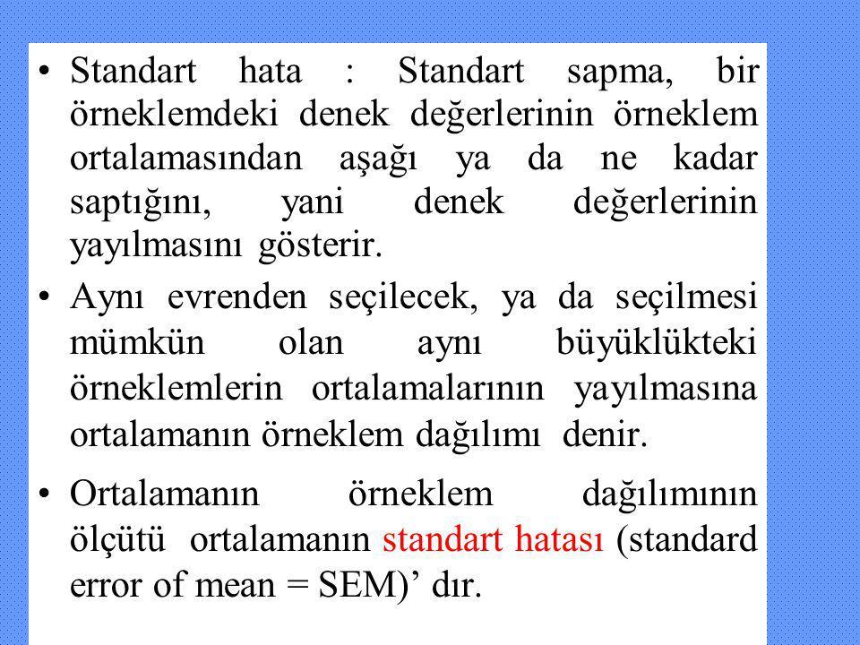 Standart hata : Standart sapma, bir örneklemdeki denek değerlerinin örneklem ortalamasından aşağı ya da ne kadar saptığını, yani denek değerlerinin ya
