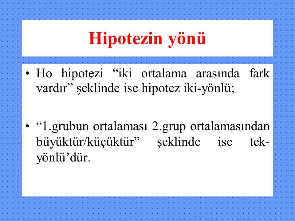 """Hipotezin yönü Ho hipotezi """"iki ortalama arasında fark vardır"""" şeklinde ise hipotez iki-yönlü; """"1.grubun ortalaması 2.grup ortalamasından büyüktür/küç"""