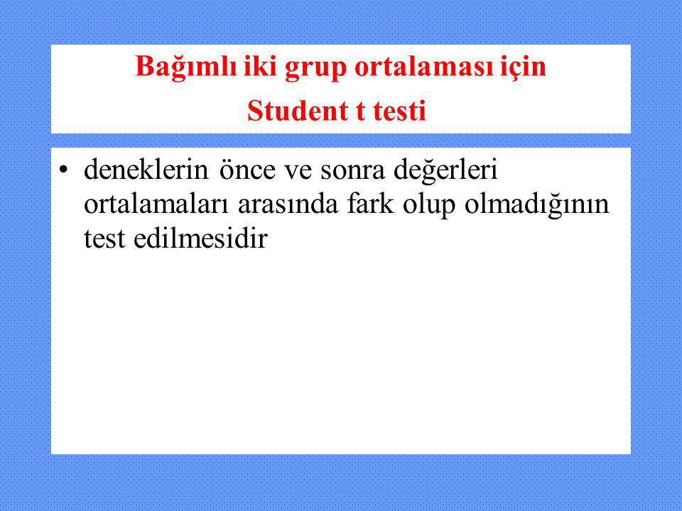 Bağımlı iki grup ortalaması için Student t testi deneklerin önce ve sonra değerleri ortalamaları arasında fark olup olmadığının test edilmesidir
