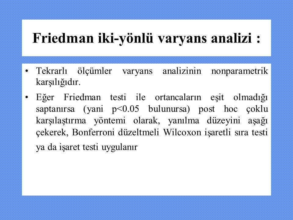 Friedman iki-yönlü varyans analizi : Tekrarlı ölçümler varyans analizinin nonparametrik karşılığıdır. Eğer Friedman testi ile ortancaların eşit olmadı