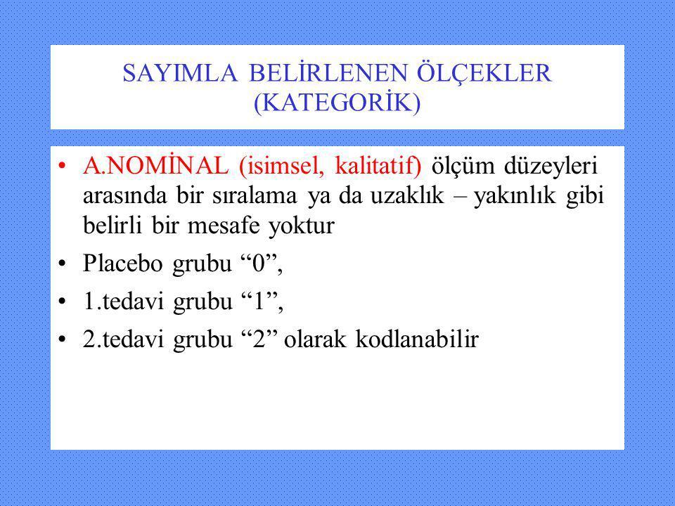 Sayımla belirlenen (kategorik) ölçekler B.
