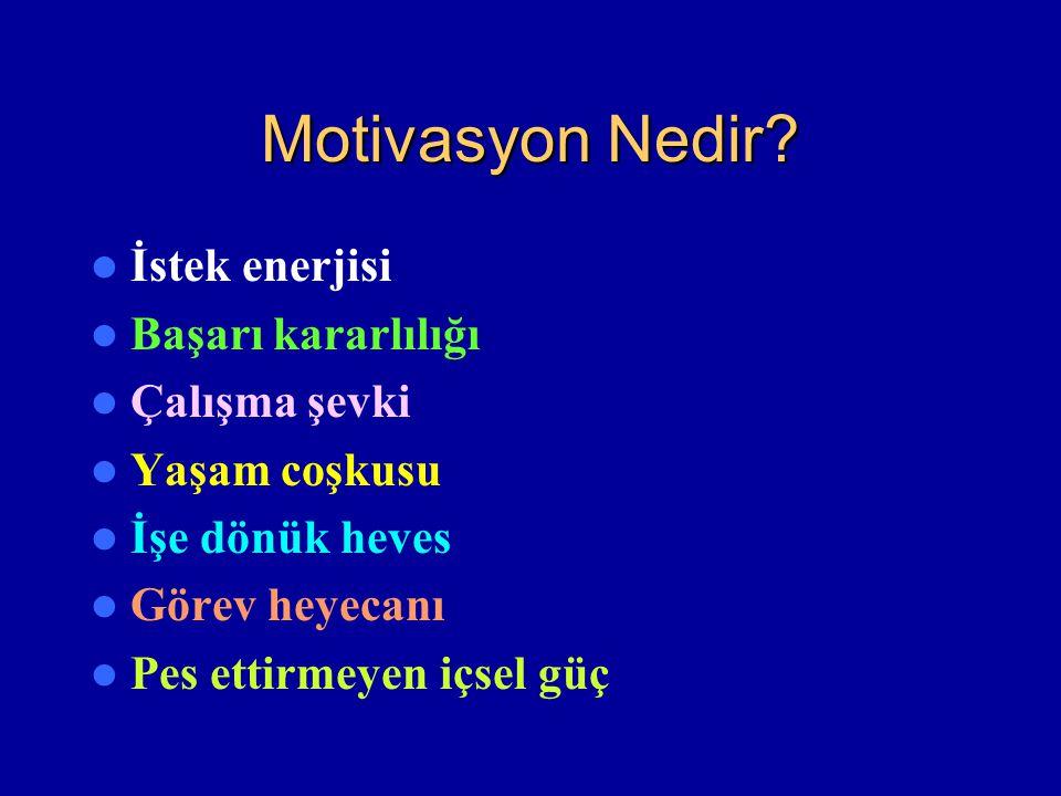 Motivasyon Nedir? İstek enerjisi Başarı kararlılığı Çalışma şevki Yaşam coşkusu İşe dönük heves Görev heyecanı Pes ettirmeyen içsel güç
