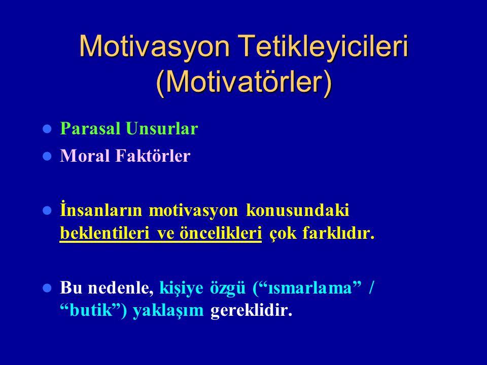 Motivasyon Tetikleyicileri (Motivatörler) Parasal Unsurlar Moral Faktörler İnsanların motivasyon konusundaki beklentileri ve öncelikleri çok farklıdır