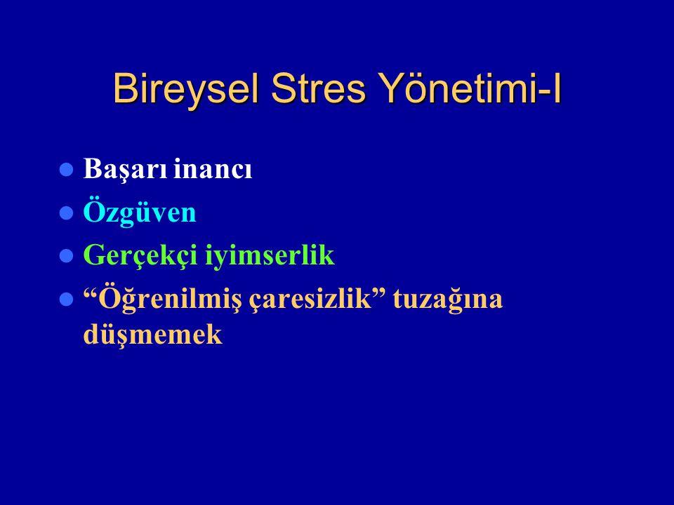 """Bireysel Stres Yönetimi-I Başarı inancı Özgüven Gerçekçi iyimserlik """"Öğrenilmiş çaresizlik"""" tuzağına düşmemek"""