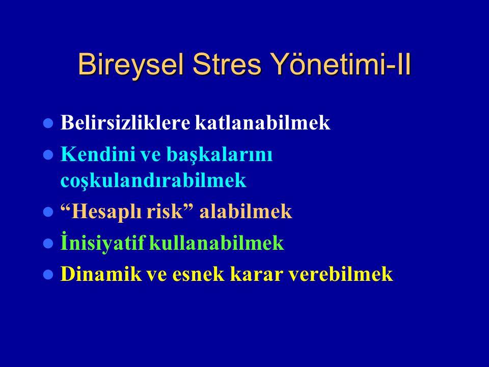 """Bireysel Stres Yönetimi-II Belirsizliklere katlanabilmek Kendini ve başkalarını coşkulandırabilmek """"Hesaplı risk"""" alabilmek İnisiyatif kullanabilmek D"""