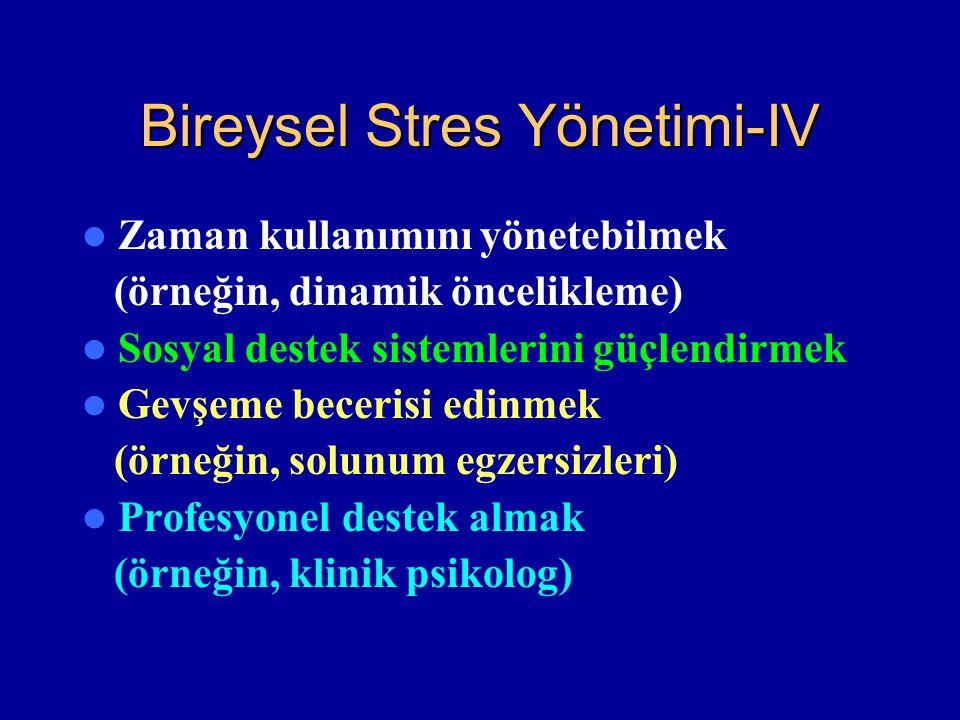 Bireysel Stres Yönetimi-IV Zaman kullanımını yönetebilmek (örneğin, dinamik öncelikleme) Sosyal destek sistemlerini güçlendirmek Gevşeme becerisi edin