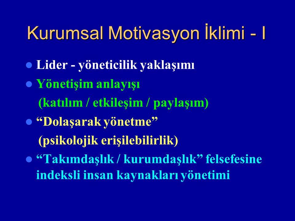 """Kurumsal Motivasyon İklimi - I Lider - yöneticilik yaklaşımı Yönetişim anlayışı (katılım / etkileşim / paylaşım) """"Dolaşarak yönetme"""" (psikolojik erişi"""
