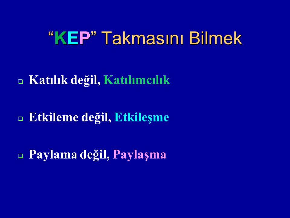 """""""KEP"""" Takmasını Bilmek  Katılık değil, Katılımcılık  Etkileme değil, Etkileşme  Paylama değil, Paylaşma"""