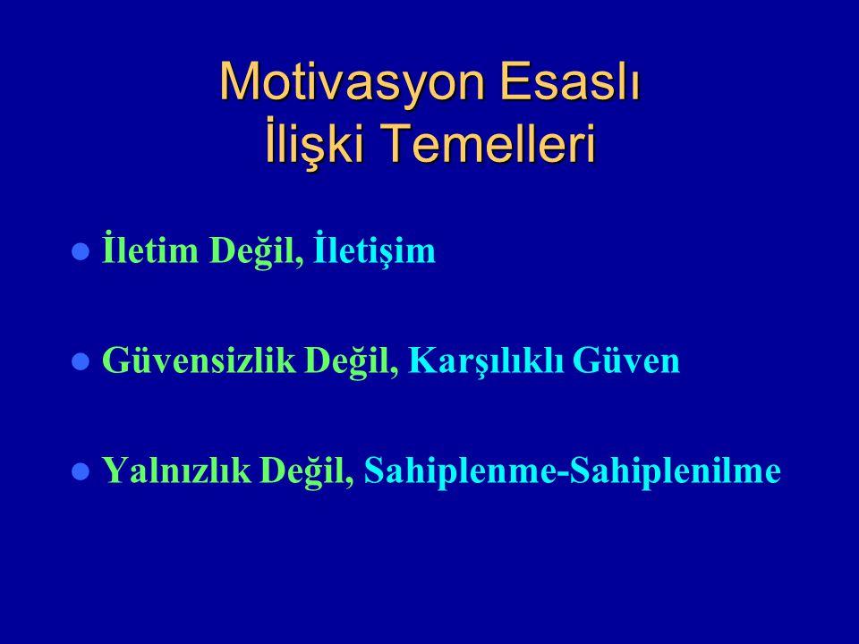 Motivasyon Esaslı İlişki Temelleri İletim Değil, İletişim Güvensizlik Değil, Karşılıklı Güven Yalnızlık Değil, Sahiplenme-Sahiplenilme
