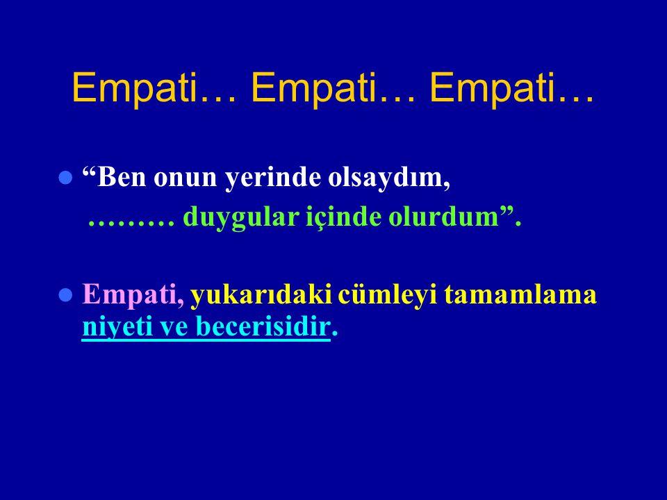 """Empati… Empati… Empati… """"Ben onun yerinde olsaydım, ……… duygular içinde olurdum"""". Empati, yukarıdaki cümleyi tamamlama niyeti ve becerisidir."""