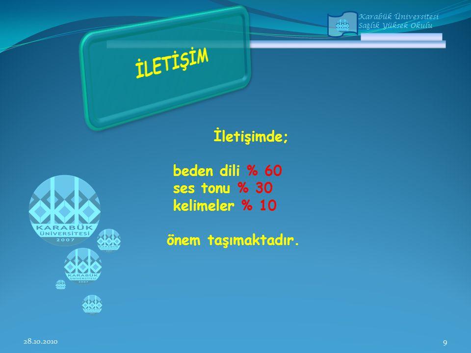 Karabük Üniversitesi Sa ğ lık Yüksek Okulu İletişimde; beden dili % 60 ses tonu % 30 kelimeler % 10 önem taşımaktadır.