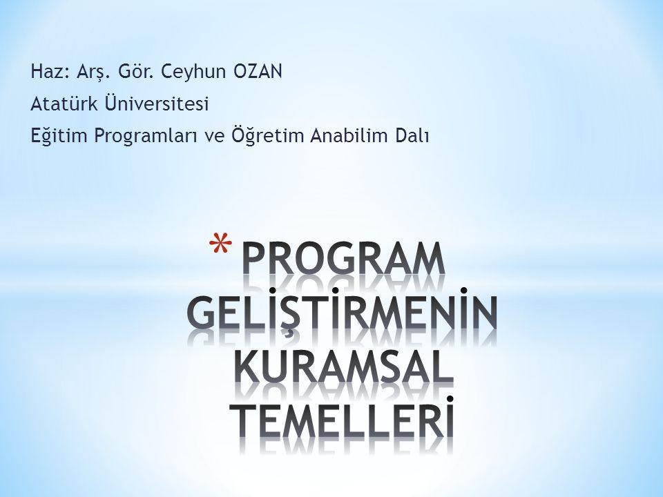 Haz: Arş. Gör. Ceyhun OZAN Atatürk Üniversitesi Eğitim Programları ve Öğretim Anabilim Dalı