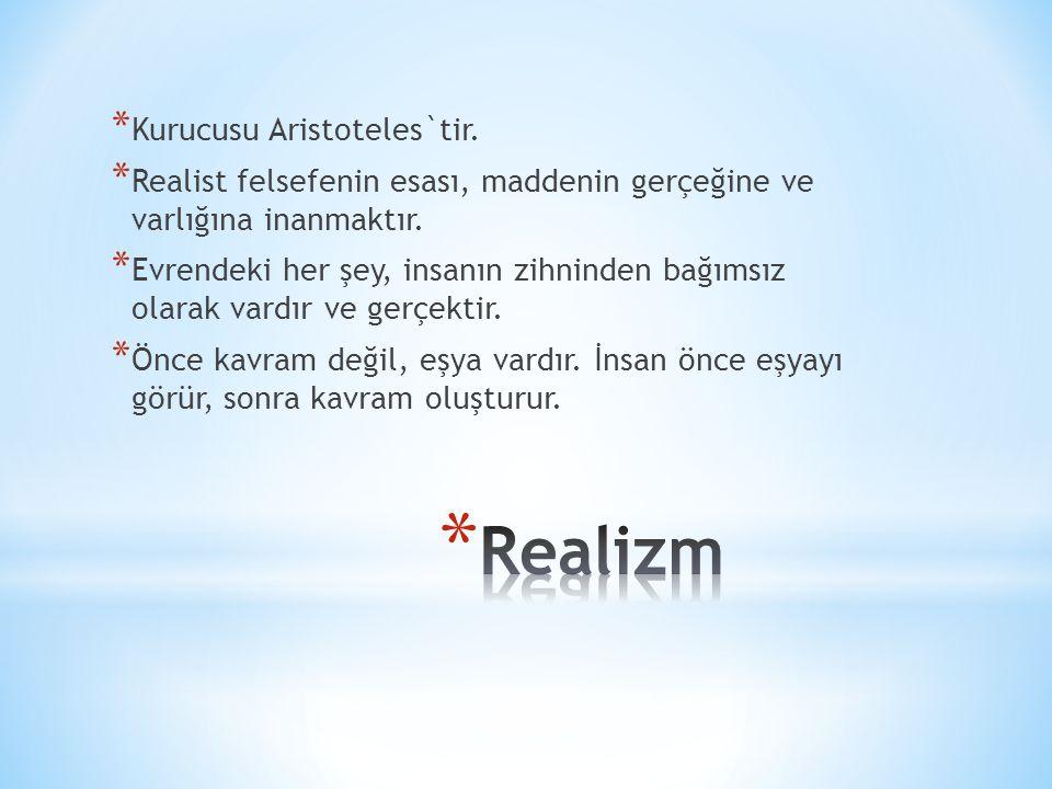 * Kurucusu Aristoteles`tir. * Realist felsefenin esası, maddenin gerçeğine ve varlığına inanmaktır. * Evrendeki her şey, insanın zihninden bağımsız ol