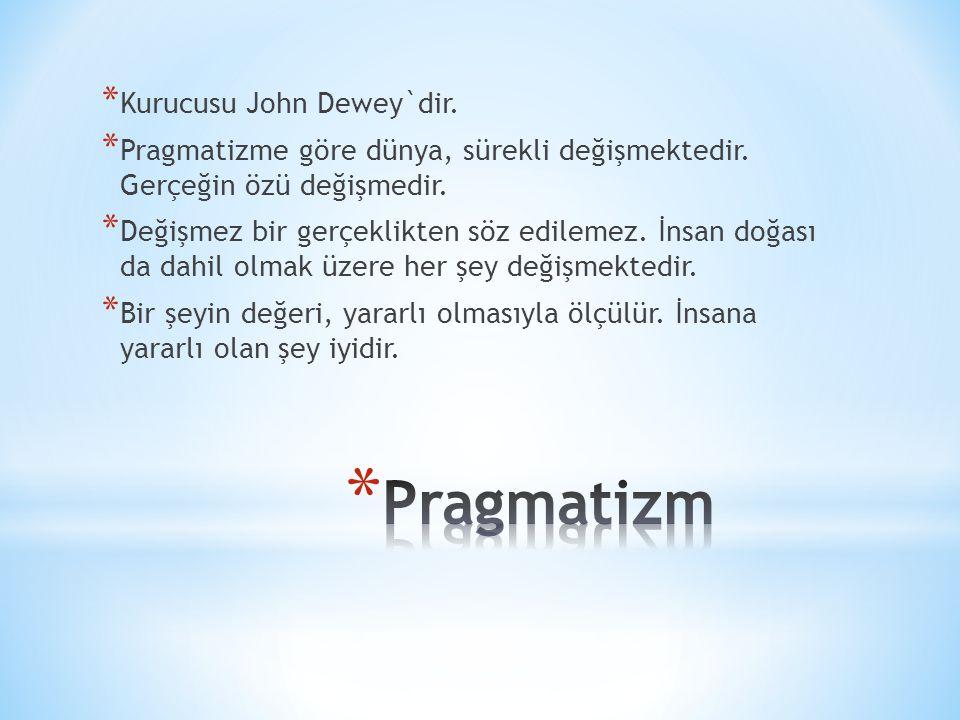 * Kurucusu John Dewey`dir. * Pragmatizme göre dünya, sürekli değişmektedir. Gerçeğin özü değişmedir. * Değişmez bir gerçeklikten söz edilemez. İnsan d