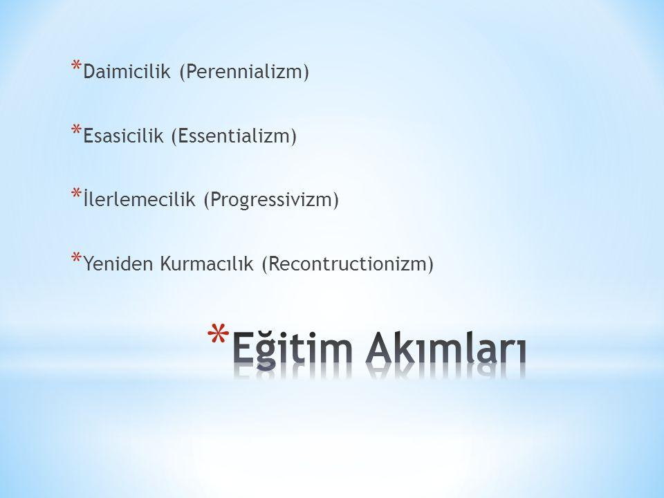 * Daimicilik (Perennializm) * Esasicilik (Essentializm) * İlerlemecilik (Progressivizm) * Yeniden Kurmacılık (Recontructionizm)