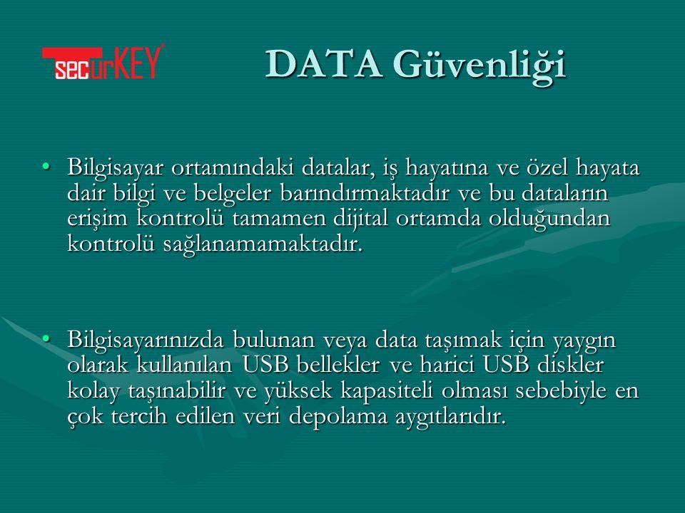 DATA Güvenliği Bilgisayar ortamındaki datalar, iş hayatına ve özel hayata dair bilgi ve belgeler barındırmaktadır ve bu dataların erişim kontrolü tama