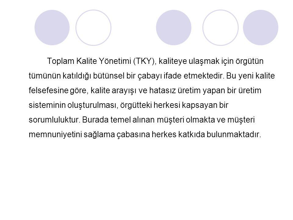 Toplam Kalite Yönetimi (TKY), kaliteye ulaşmak için örgütün tümünün katıldığı bütünsel bir çabayı ifade etmektedir. Bu yeni kalite felsefesine göre, k