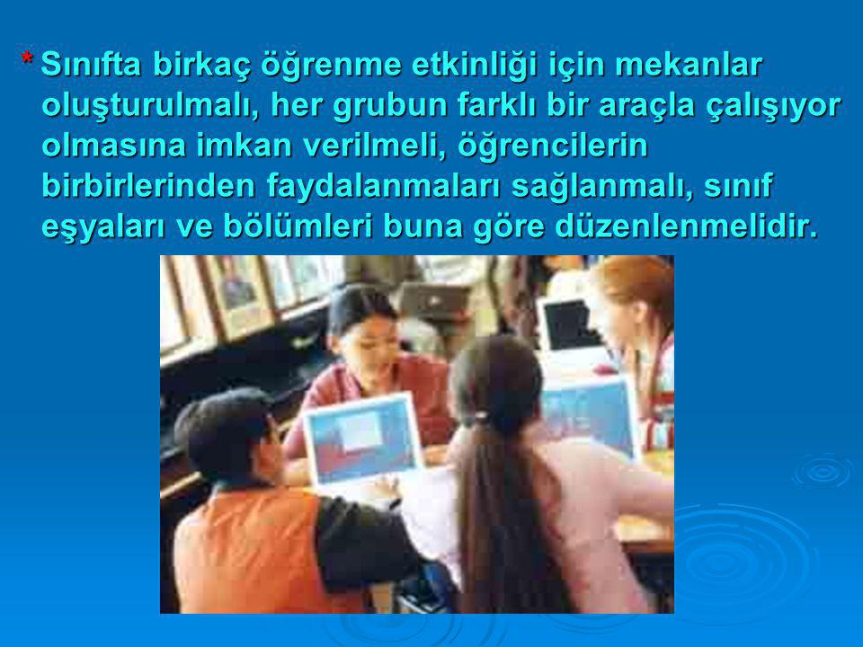 * Sınıfta birkaç öğrenme etkinliği için mekanlar oluşturulmalı, her grubun farklı bir araçla çalışıyor olmasına imkan verilmeli, öğrencilerin birbirle