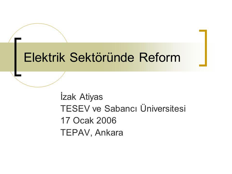 Elektrik Sektöründe Reform İzak Atiyas TESEV ve Sabancı Üniversitesi 17 Ocak 2006 TEPAV, Ankara