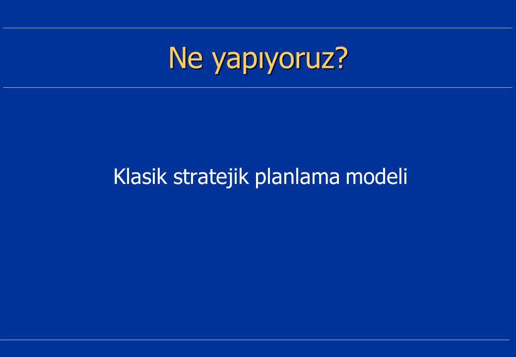 Ne yapıyoruz Klasik stratejik planlama modeli