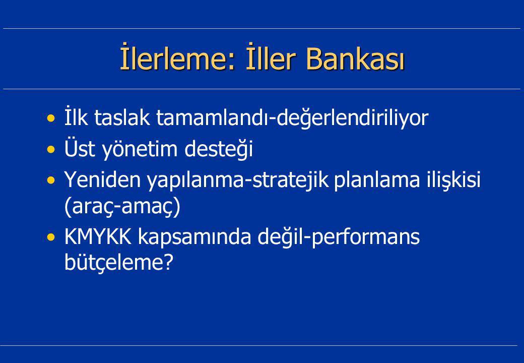 İlerleme: İller Bankası İlk taslak tamamlandı-değerlendiriliyor Üst yönetim desteği Yeniden yapılanma-stratejik planlama ilişkisi (araç-amaç) KMYKK kapsamında değil-performans bütçeleme