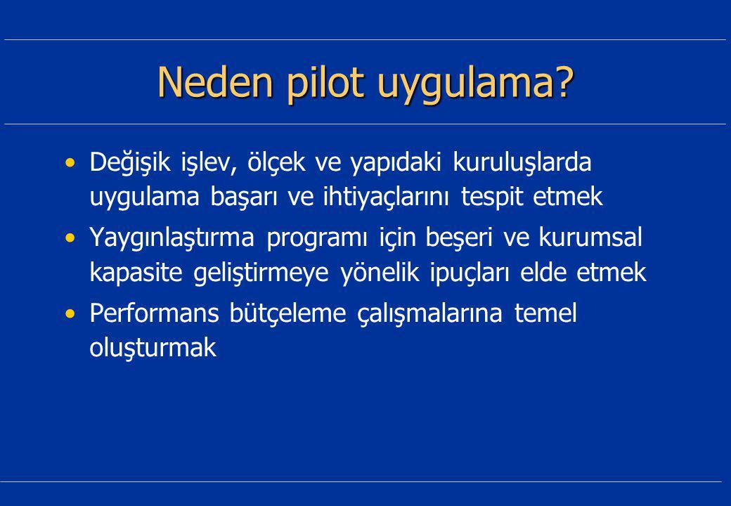 Neden pilot uygulama.