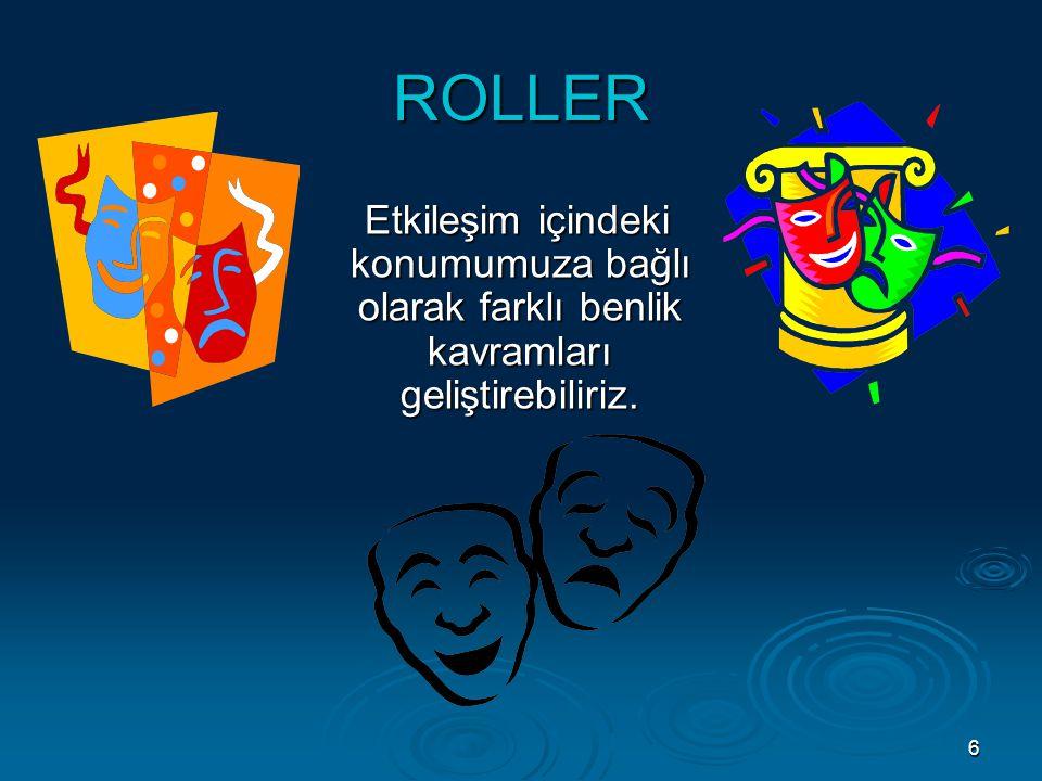 6 ROLLER Etkileşim içindeki konumumuza bağlı olarak farklı benlik kavramları geliştirebiliriz. Etkileşim içindeki konumumuza bağlı olarak farklı benli