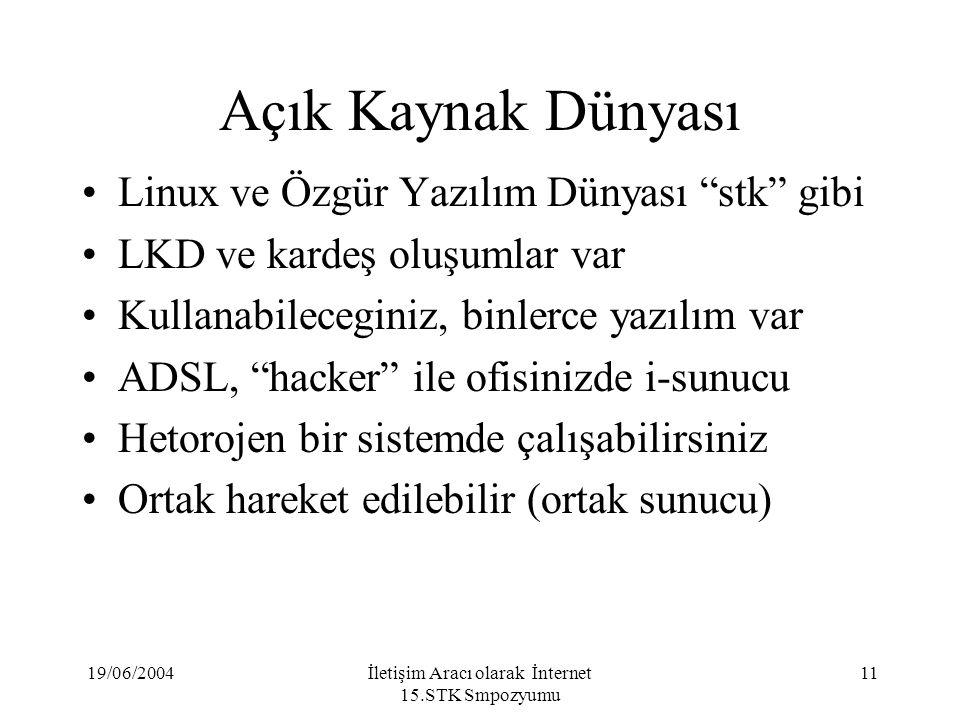 19/06/2004İletişim Aracı olarak İnternet 15.STK Smpozyumu 11 Açık Kaynak Dünyası Linux ve Özgür Yazılım Dünyası stk gibi LKD ve kardeş oluşumlar var Kullanabileceginiz, binlerce yazılım var ADSL, hacker ile ofisinizde i-sunucu Hetorojen bir sistemde çalışabilirsiniz Ortak hareket edilebilir (ortak sunucu)