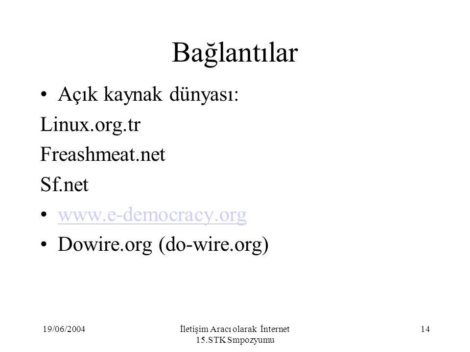 19/06/2004İletişim Aracı olarak İnternet 15.STK Smpozyumu 14 Bağlantılar Açık kaynak dünyası: Linux.org.tr Freashmeat.net Sf.net www.e-democracy.org Dowire.org (do-wire.org)