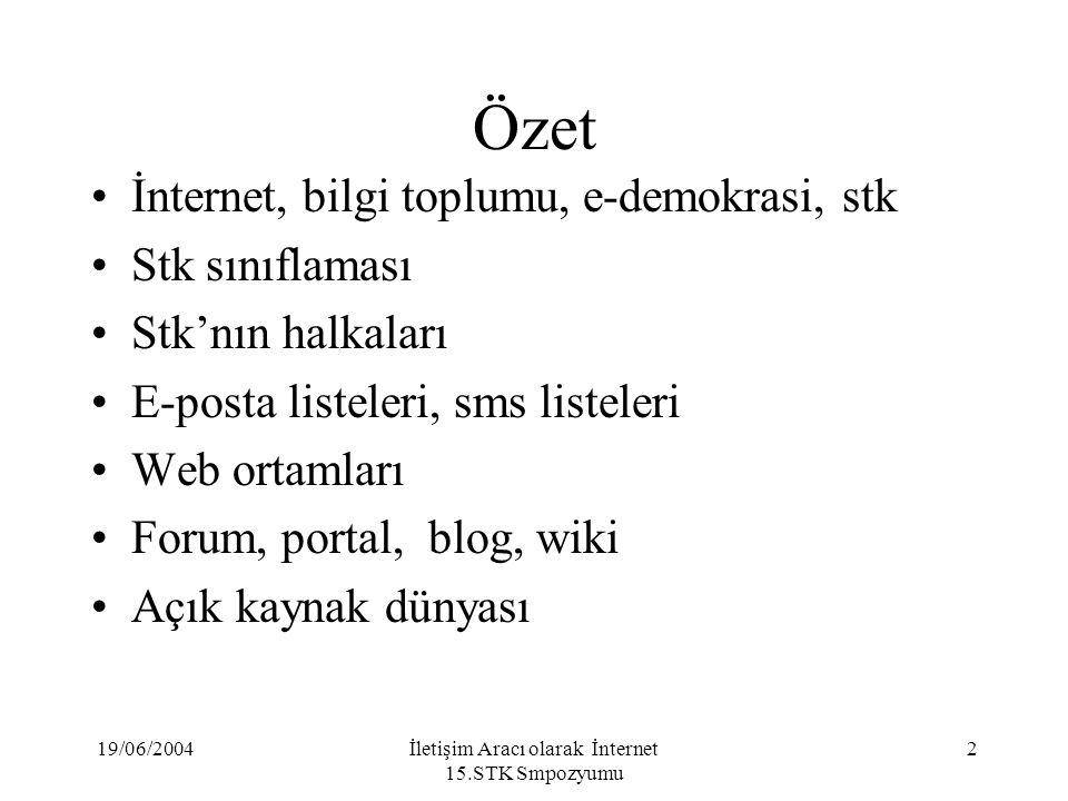 19/06/2004İletişim Aracı olarak İnternet 15.STK Smpozyumu 13 Ne Yapmalı.