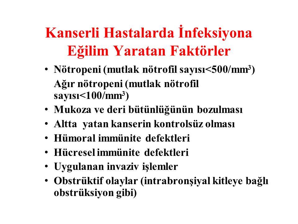 Kanserli Hastalarda İnfeksiyona Eğilim Yaratan Faktörler Nötropeni (mutlak nötrofil sayısı<500/mm 3 ) Ağır nötropeni (mutlak nötrofil sayısı<100/mm 3