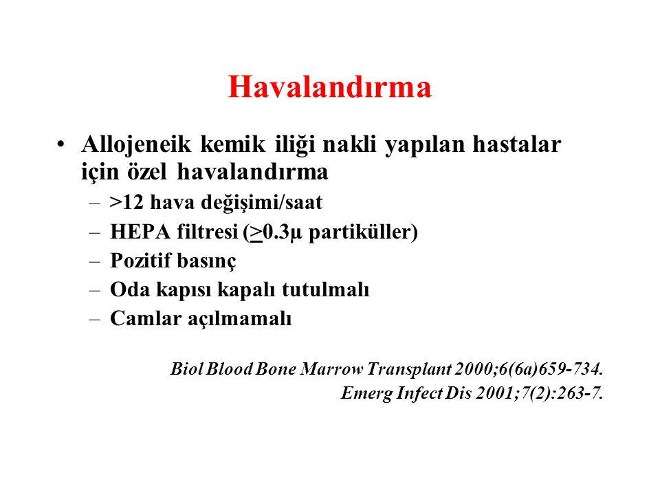 Havalandırma Allojeneik kemik iliği nakli yapılan hastalar için özel havalandırma –>12 hava değişimi/saat –HEPA filtresi (>0.3µ partiküller) –Pozitif