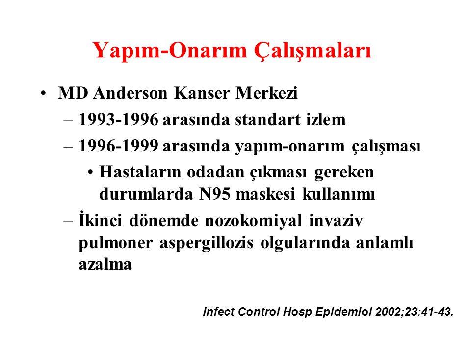 Yapım-Onarım Çalışmaları MD Anderson Kanser Merkezi –1993-1996 arasında standart izlem –1996-1999 arasında yapım-onarım çalışması Hastaların odadan çı