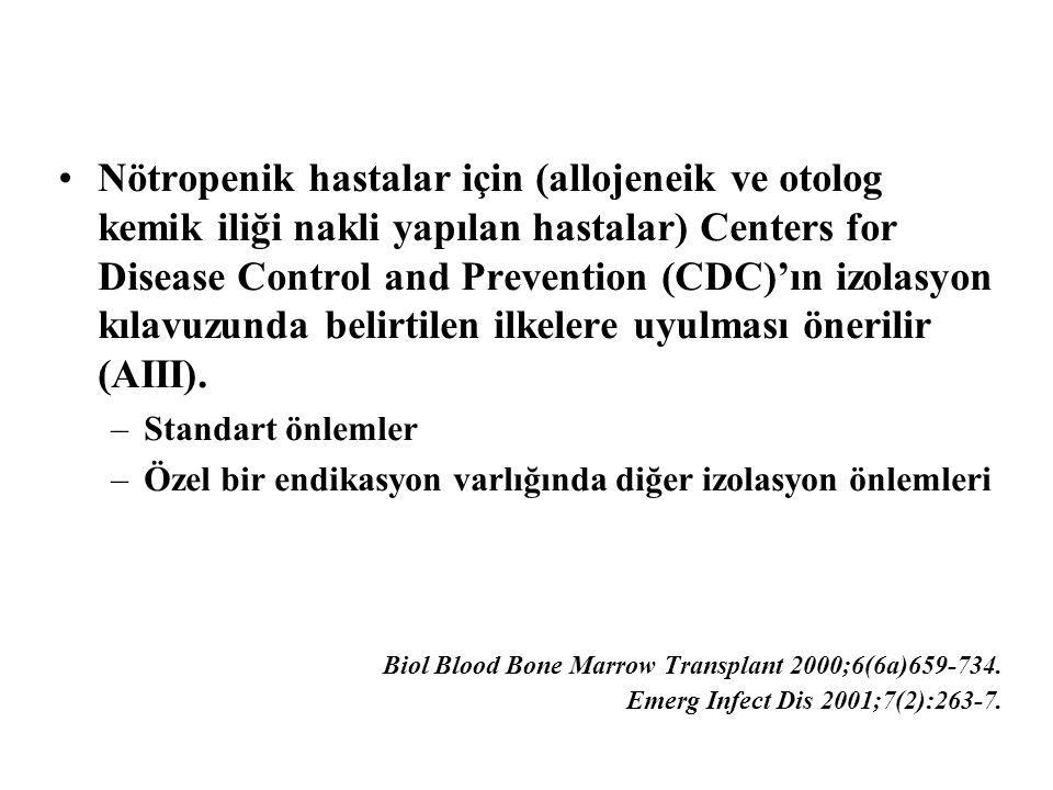 Nötropenik hastalar için (allojeneik ve otolog kemik iliği nakli yapılan hastalar) Centers for Disease Control and Prevention (CDC)'ın izolasyon kılav