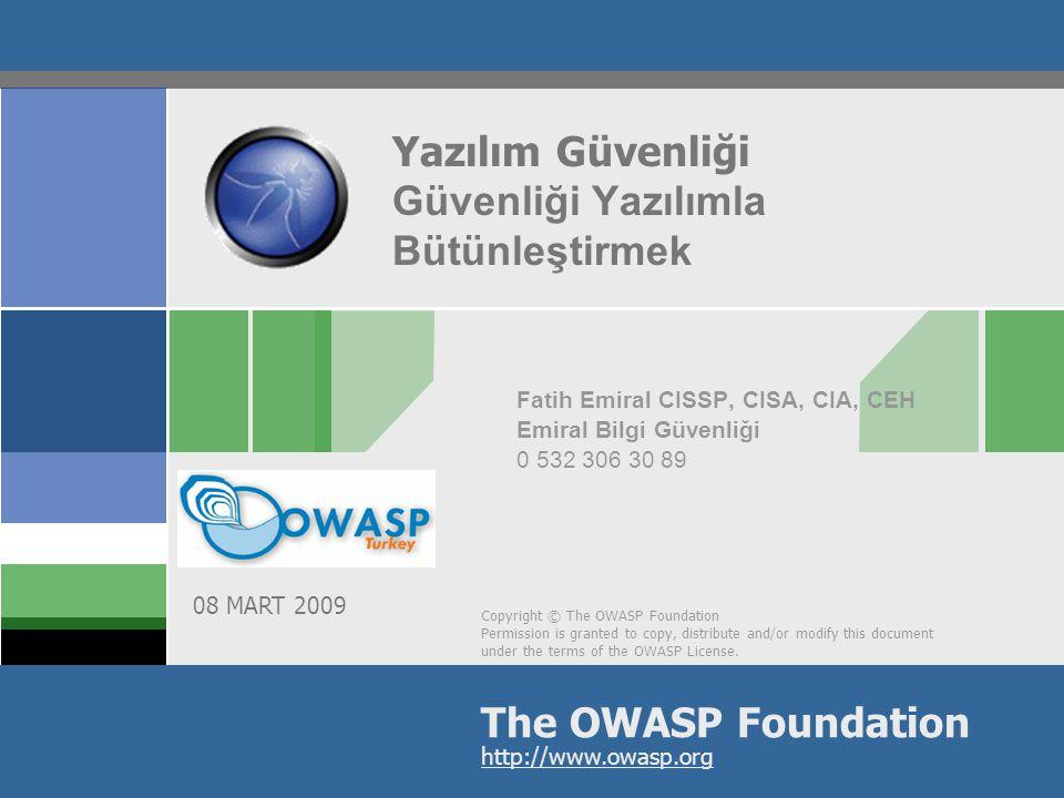 2 İçindekiler I.Yazılım Güvenliği Nedir II.Yazılım Güvenliği Alanında Başarılı Bir Örnek III.Yazılım Güvenliği Alanındaki Çalışmalar IV.(Software Security) Touchpoints V.CLASP VI.SDL VII.Yazılım Güvenliği Metodolojileri ile BT Kontrol Çerçeveleri Arasında (Kaba) Analoji VIII.Genel İzlenim IX.Kimler Güvenliği Yazılım Sürecine (Başarılı Biçimde) Entegre Edebilir