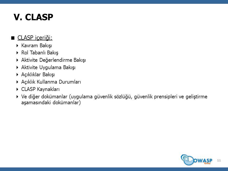 11 V. CLASP  CLASP içeriği:  Kavram Bakışı  Rol Tabanlı Bakış  Aktivite Değerlendirme Bakışı  Aktivite Uygulama Bakışı  Açıklıklar Bakışı  Açık