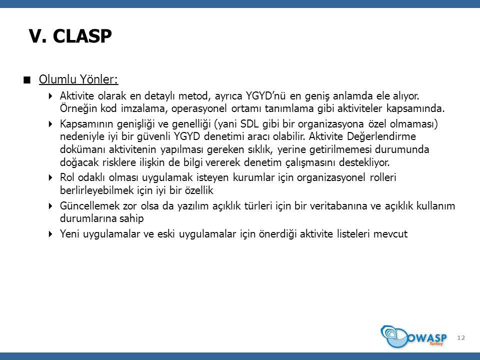 12 V. CLASP  Olumlu Yönler:  Aktivite olarak en detaylı metod, ayrıca YGYD'nü en geniş anlamda ele alıyor. Örneğin kod imzalama, operasyonel ortamı