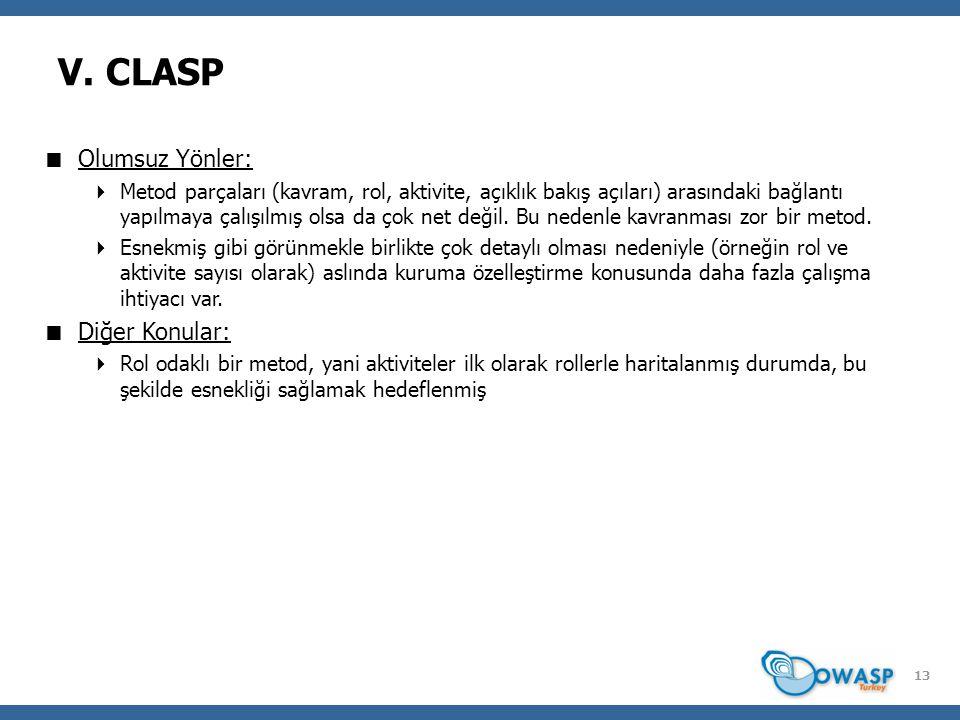 13 V. CLASP  Olumsuz Yönler:  Metod parçaları (kavram, rol, aktivite, açıklık bakış açıları) arasındaki bağlantı yapılmaya çalışılmış olsa da çok ne