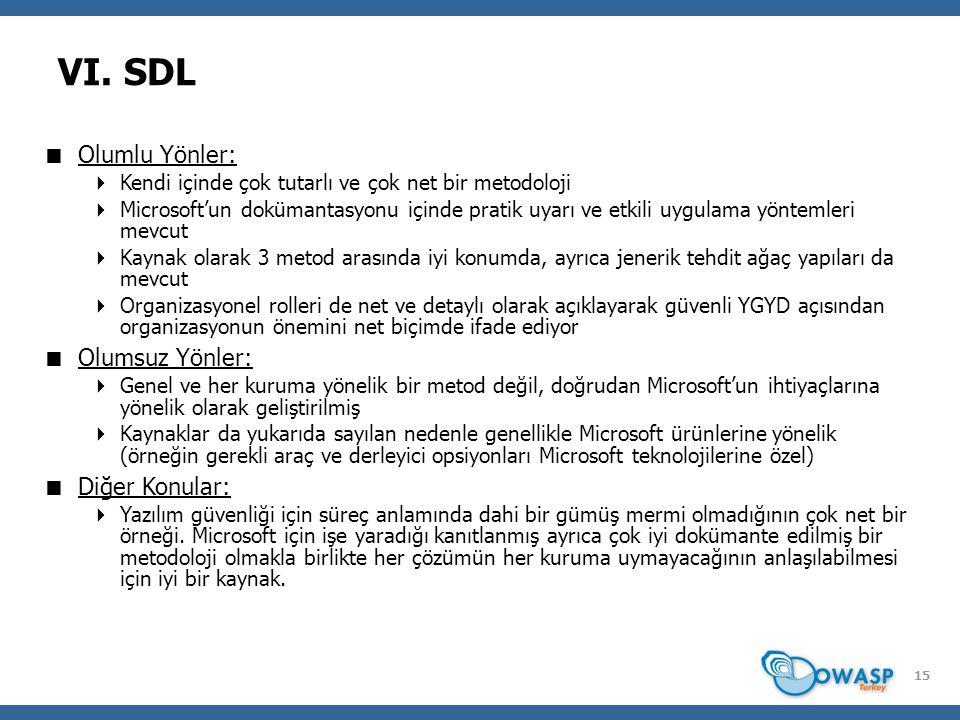 15 VI. SDL  Olumlu Yönler:  Kendi içinde çok tutarlı ve çok net bir metodoloji  Microsoft'un dokümantasyonu içinde pratik uyarı ve etkili uygulama
